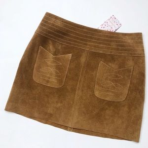 Free People Cow Leather Modern Love Skirt